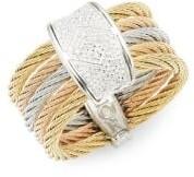 Alor Classique Diamond 18K Two-Tone Gold Cable Ring