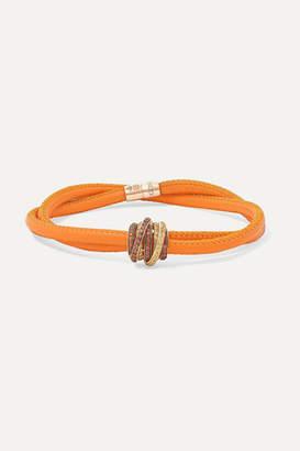 de Grisogono Allegra Leather, 18-karat Rose Gold And Sapphire Bracelet - M