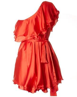 Forever Unique Satin One Shoulder Short Dress Colour: CORAL, Size: 8
