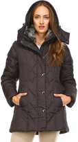 London Fog Brown Hooded Quilted Puffer Coat