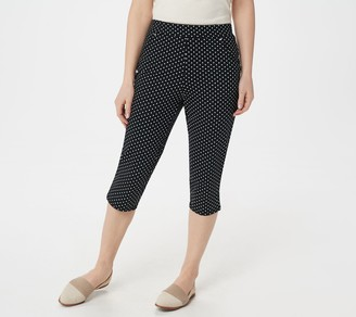 Factory Quacker French Terry Polka Dot Printed Knit Capri Pants