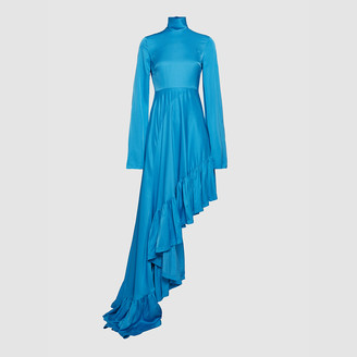SOLACE London Blue Marlee Asymmetric Ruffled Hem Satin Dress UK 10