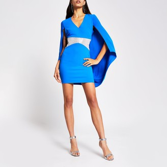 River Island Womens Blue diamante V neck cape mini dress