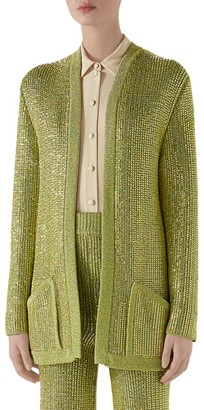 Gucci Long-Sleeve Crystal Viscose Cardigan