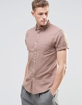 Asos Regular Fit Herringbone Shirt In Dusty Pink