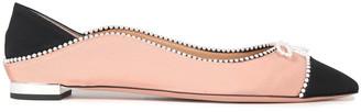 Aquazzura Moon Faux Pearl-embellished Grosgrain Point-toe Flats