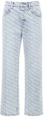Alexander Wang Logo Flocked Cotton Denim Skater Jeans