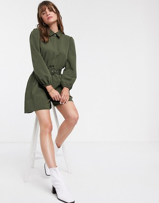 Glamorous relaxed belted romper with button collar