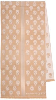 Alexander McQueen Skull wool twill scarf