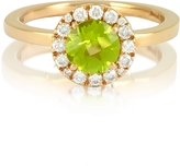 Forzieri 0.22 ct Diamond Pave 18K Gold Ring w/Green Peridot