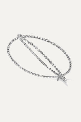 LELET NY Exes Crystal-embellished Silver-tone Headband
