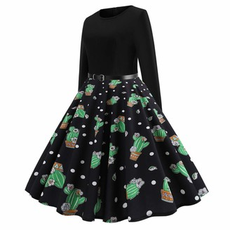 Yonlanclot Women Dress Round Neck Long Sleeve O Neck Evening Printing Party Prom Swing Vintage Cactus Print Skirt(Green L)