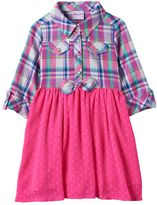 Nannette Toddler Girl Plaid Top Textured Dot Skirt Dress