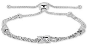 Macy's Diamond X Bolo Bracelet (1/8 ct. t.w.) in Sterling Silver