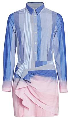 Derek Lam 10 Crosby Isadora Stripe Ruffle Sheath Shirtdress