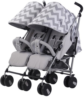 My Babiie Billie Faiers MB22 Grey Chevron Twin Strolle