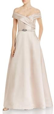 Eliza J Belted Off-the-Shoulder Gown