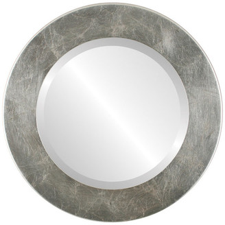 """The Oval And Round Mirror Store Cafe Framed Round Mirror in Silver Leaf with Brown Antique, 18""""x18"""""""