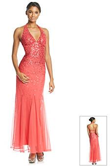 Sequin Hearts Sequin Halter Ball Gown