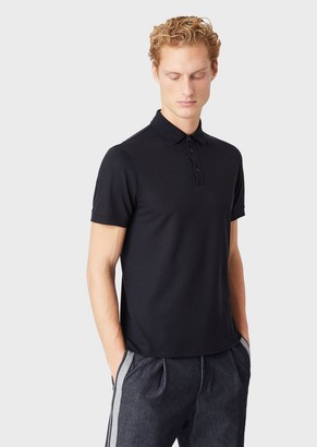 Giorgio Armani Short-Sleeved Polo Shirt In Light Wool