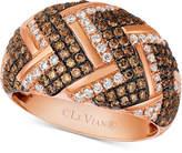 LeVian Le Vian Chocolatier® Diamond Chevron Dome Ring (1-1/5 ct. t.w.) in 14k Rose Gold