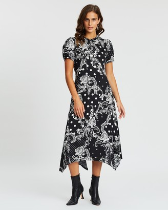 Dorothy Perkins Lace Print Satin Midi Dress