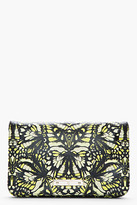 McQ by Alexander McQueen Yellow & Black Butterfly Printed Leather Clutch