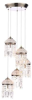 Illuminate Calama Elegant 5 Light Art Deco Style Cluster Ceiling Pendant With Crystal Effect Droplets In Vinatge Finish, Antique Brass (B To E)