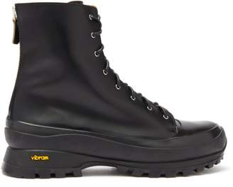 Jil Sander Zipped Leather Combat Boots - Mens - Black