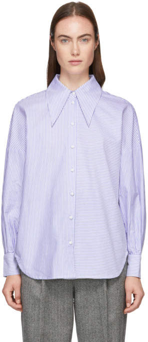 Tibi Blue Striped Oxford Oversized Shirt