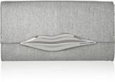 Diane von Furstenberg Carolina Lips metallic canvas and leather clutch