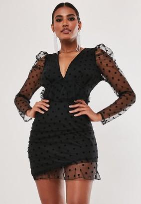 Missguided Black Dobby Milkmaid Frill Mini Dress