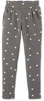 Petit Bateau Girls pants in warm polka dot cotton fleece