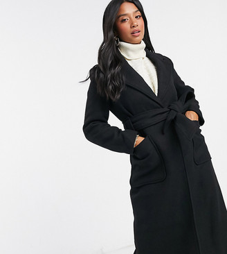 Y.A.S wool longline coat with tie waist belt in black