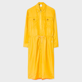 Paul Smith Women's Mustard Cupro Shirt-Dress With Zip Front