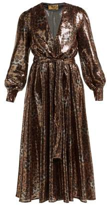 MSGM Belted Leopard-sequinned Dress - Womens - Black Gold