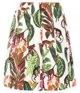 Oscar de la Renta Pleated cotton skirt