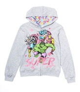 Freeze Gray Marvel 'Super' Reversible Zip-Up Hoodie - Girls