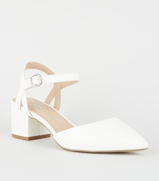 New Look Wide Fit Leather-Look Low Heel Court Shoes