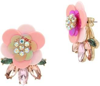 Betsey Johnson Goldtone Crystal Flower Cluster Earrings