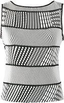 Issey Miyake striped sleeveless top - women - Polyester - 2