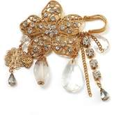 Avalaya 'Filigree Flower, Crystal Tassel & Acrylic Bead' Charm Safety Pin Brooch ( Tone)
