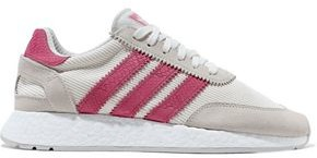 adidas I-5923 Leather And Suede-trimmed Ribbed-knit Sneakers