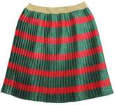 Gucci Striped Plisse Silk & Lurex Skirt