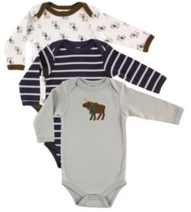 Hudson Baby Baby Boy Long Sleeve Cotton Bodysuits, 3 Pack