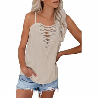 Kalorywee Women Tops Black Lace Cami Tops Women KaloryWee Loose Stappy Camisole Casual Spaghetti Plain Knitted Cami Sexy Vest Tops