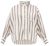 Etoile Isabel Marant Olena Striped Ruffle-neck Cotton-blend Shirt - Womens - Ivory Multi
