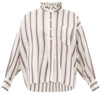 Etoile Isabel Marant Olena Striped Ruffle-neck Cotton-blend Shirt - Ivory Multi