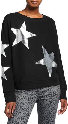 Sweet Romeo Jumbo Metallic Star Dolman-Sleeve Sweater