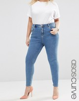 Asos High Waist Ridley Skinny Jeans In Jojo Mid Wash